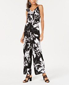 Bar III Printed Ruffle Jumpsuit, Created for Macy's