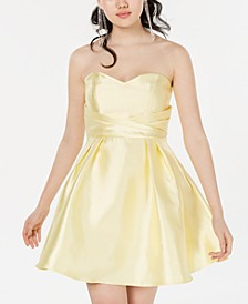 Juniors' Strapless Sweetheart Fit & Flare Dress