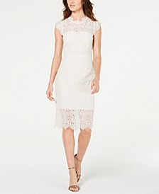 Open Back Cap-Sleeve Lace Dress