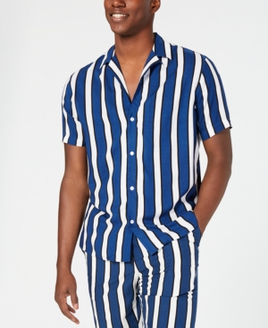Vintage Men's Swimsuits – 1930s to 1970s History I.n.c. Mens Camp Collar Striped Shirt Created for Macys $24.99 AT vintagedancer.com