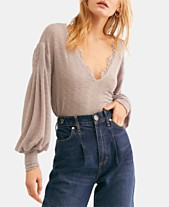 0f8c16b25879d2 Free People Dream Girl V-Neck Bishop-Sleeve Top