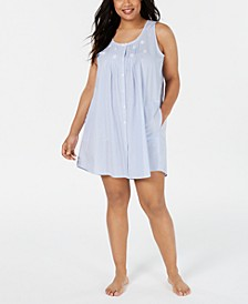 Plus Size Embroidered Tucked-Front Nightgown