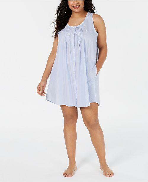 Miss Elaine Plus Size Embroidered Tucked-Front Nightgown