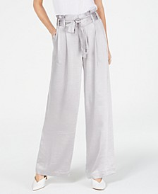 INC Satin Wide-Leg Paper Bag Tie Waist Pants, Created for Macy's