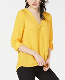 XOXO Juniors' V-Neck Button-Up Blouse