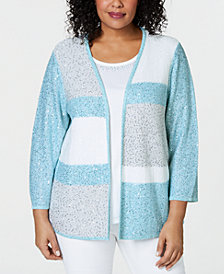 Alfred Dunner Plus Size Versailles Studded Layered-Look Cardigan