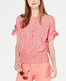MICHAEL Michael Kors Painted Reef Smocked Top, Regular & Petite Sizes
