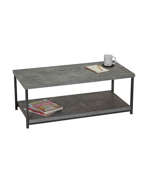Slate Faux Concrete Coffee Table With Storage Shelf
