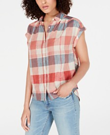 Lucky Brand Cotton Plaid Cuffed-Sleeve Shirt