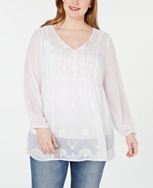 Style & Co Plus Size Embroidered Chiffon Top, Created for Macy's