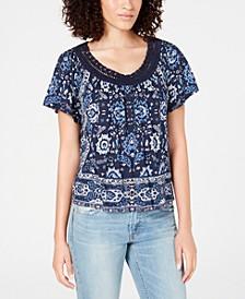 Crochet-Trim Scarf-Print T-Shirt