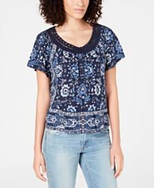 Lucky Brand Crochet-Trim Scarf-Print T-Shirt