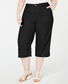 Style & Co Plus Size Frayed-Trim Capris, Created for Macy's