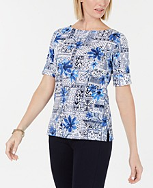 Patchwork-Print Boatneck Top, Created for Macy's