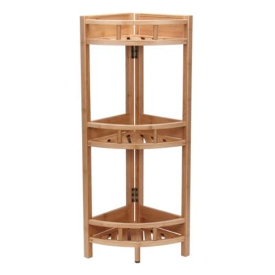 ... Household Essentials Bamboo 3 Shelf Corner Storage Unit ...