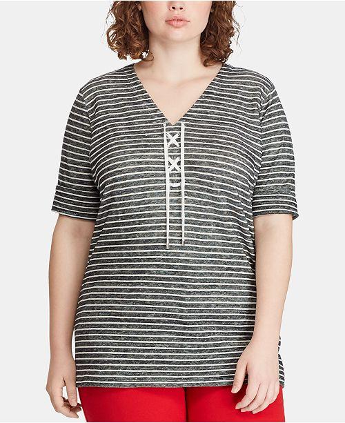 Lauren Ralph Lauren Linen Blend Plus Size Striped Top