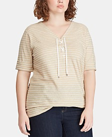 Lauren Ralph Lauren Linen Blend Plus Size Striped Top