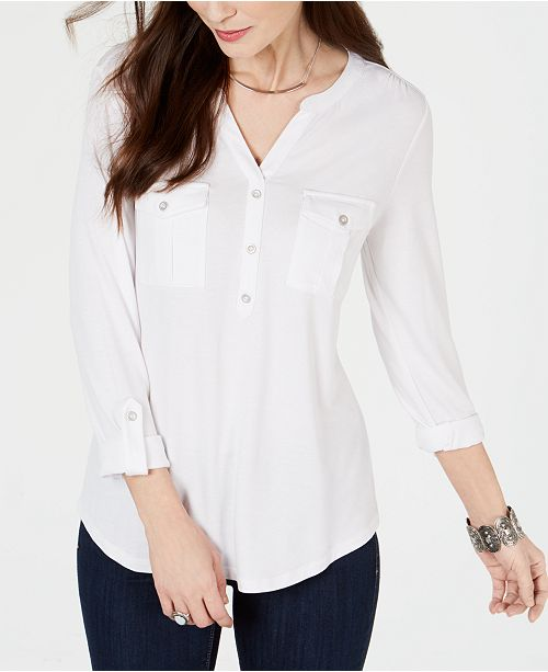 Style & Co Split-Neck Roll-Tab-Sleeve Top, Created for Macy's