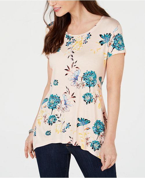 Style & Co Printed Handkerchief-Hem Top, Created for Macy's