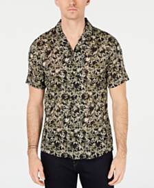 Michael Kors Men's Slim-Fit Leaf Graphic Shirt, Created for Macy's