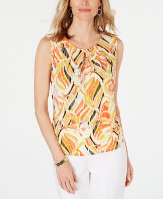 Printed Pleat-Neck Keyhole Top