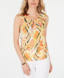 Kasper Printed Pleat-Neck Keyhole Top