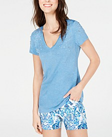 INC Embellished V-Neck T-Shirt, Created for Macy's