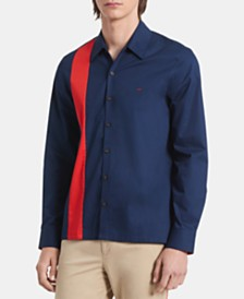 Calvin Klein Men's Classic-Fit Pieced Colorblocked Twill Shirt