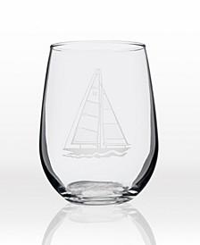 Sailboat Stemless 17Oz - Set Of 4 Glasses