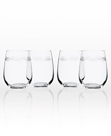 Rolf Glass Cast Of Crabs Stemless Wine Tumbler 17Oz - Set Of 4 Glasses
