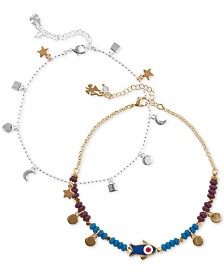Lucky Brand Two-Tone 2-Pc. Set Charm Anklet, Created for Macy's