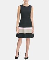 2922d557b3 Tommy Hilfiger Colorblocked Scuba Crepe Fit   Flare Dress