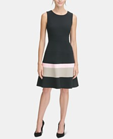 Tommy Hilfiger Colorblocked Scuba Crepe Fit & Flare Dress