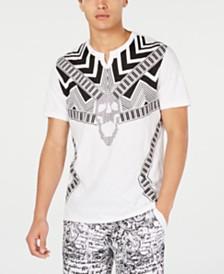I.N.C. Men's Rhinestone Skull Graphic Split-Neck T-Shirt, Created for Macy's