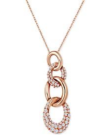 "Le Vian Link'ing™ Vanilla Diamond Multi-Ring 18"" Pendant Necklace (3/4 ct. t.w.) in 14k Rose Gold"
