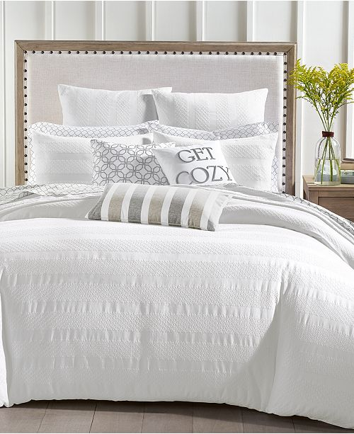 Charter Club Basket Stripe Cotton 3-Pc. Full/Queen Duvet Set, Created for Macy's