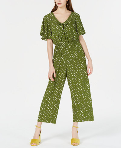 Speechless Juniors' Printed Tie-Front Jumpsuit, Created for Macy's