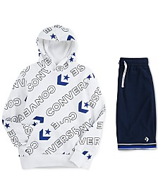 Converse Big Boys Logo Hoodie & Mesh Court Shorts