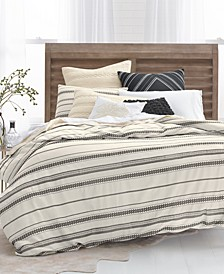 Stripe Embroidered Full/Queen Duvet Cover Set