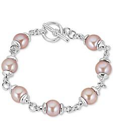 Cultured Freshwater Pink Pearl (9mm) Bracelet in Sterling Silver