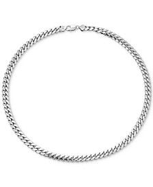 "Men's Cuban Link 22"" Chain Necklace in Sterling Silver"