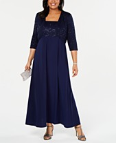 c65419cf5d18a R   M Richards Plus Size Lace Poncho Gown