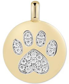 "CHARMBAR™ Swarovski Zirconia Pawprint ""Puppy Love"" Reversible Charm Pendant in 14k Gold-Plated Sterling Silver"