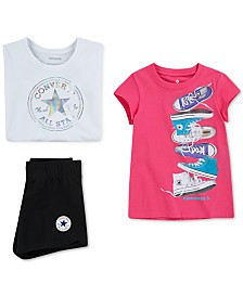 Converse Big Girls Graphic-Print Cotton T-Shirts & Patch Logo Shorts