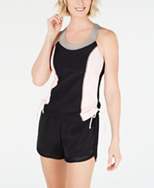 GO by Gossip Colorblocked Tankini Top & Drawstring Mesh-Trim Swim Shorts, Created for Macy's