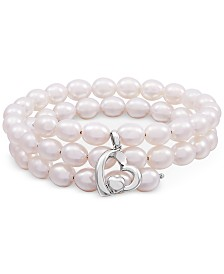 Cultured Freshwater Oval Pearl (6-1/2mm) Heart Charm Wrap Bracelet in Sterling Silver