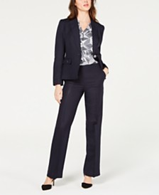 Nine West One-Button Jacket, Printed Sleeveless Blouse & Wide-Leg Pants