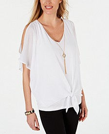 Petite Cold-Shoulder Necklace Top, Created for Macy's