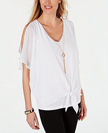 JM Collection Tie-Front Necklace Blouse, Created for Macy's