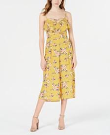 Trixxi Juniors' Floral-Print Ruffle Jumpsuit